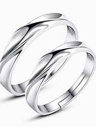 cheap -Couple's Couple Rings Silver Sterling Silver Ladies Simple Classic Daily Jewelry Matching His And Her Twist Circle Friendship