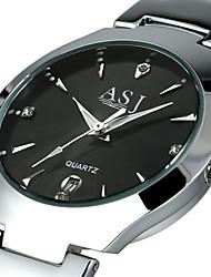 cheap -ASJ Men's Dress Watch Quartz Black / White Calendar / date / day Analog Casual Fashion - White Black Black / White One Year Battery Life