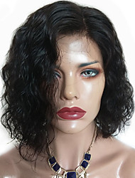 cheap -Remy Human Hair Lace Front Wig Bob Short Bob Side Part style Brazilian Hair Wavy Wig 130% Density Women's Short Human Hair Lace Wig beikashang