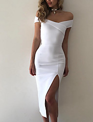 cheap -Women's Off Shoulder White Black Dress Summer Going out Bodycon Solid Colored Deep V S M Skinny High Waist / Sexy