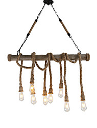 cheap -8-Head 100cm Vintage Hemp Rope With Bamboo Pendant Lights Loft Creative Living Room Restaurant Clothing Store Lamp