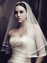 cheap -One-tier Fashionable Jewelry / Flower Style / Mesh Wedding Veil Chapel Veils with Fringe / Splicing 59.06 in (150cm) POLY / Tulle / Oval