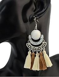 cheap -Cubic Zirconia Drop Earrings fan earrings Tassel Chandelier Ladies Vintage Fashion Oversized Resin Earrings Jewelry Rainbow / Brown / Blue For Ceremony Carnival