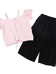 cheap -Kids Girls' Basic Solid Colored Striped Short Sleeve Cotton Clothing Set White