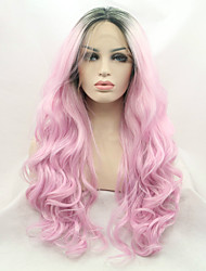 cheap -Synthetic Lace Front Wig Wavy Middle Part Lace Front Wig Pink Long Black / Pink Synthetic Hair Women's Gift Silk Base Hair Ombre Hair Black Pink