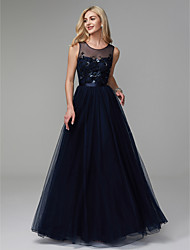 cheap -A-Line Jewel Neck Floor Length Satin / Tulle Elegant Prom / Formal Evening Dress 2020 with Beading