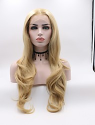 cheap -Synthetic Lace Front Wig Wavy Layered Haircut Lace Front Wig Blonde Medium Length Light golden Synthetic Hair Women's Curler & straightener Blonde Skyworth