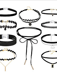 cheap -Women's Choker Necklace Tattoo Choker Stacking Stackable Ladies Vintage Gothic Multi Layer Leather Lace Fabric Black 36 cm Necklace Jewelry 10pcs For Gift Street Cosplay Costumes