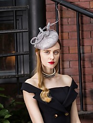 cheap -Flax Kentucky Derby Hat / Headwear with Feather / Floral 1pc Wedding / Party / Evening Headpiece