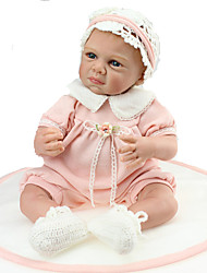 cheap -NPKCOLLECTION NPK DOLL Reborn Doll 24 inch Newborn lifelike Child Safe Non Toxic Hand Applied Eyelashes Artificial Implantation Blue Eyes Kid's Girls' Toy Gift / CE Certified / Floppy Head