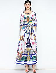 cheap -Women's Going out / Beach Vintage / Street chic Maxi Loose Swing Dress - Floral Print Spring Cotton White L XL XXL