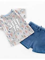 cheap -Baby Boys' Casual Daily Print Print Short Sleeve Regular Cotton Clothing Set Gray / Toddler