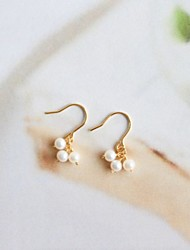 cheap -Women's Freshwater Pearl Drop Earrings Hoop Earrings Basic Fashion Elegant Gold Plated S925 Sterling Silver Freshwater Pearl Earrings Jewelry Gold For Gift Daily