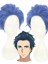 cheap -Violet Evergarden Merlin Cosplay Wigs Unisex 12 inch Heat Resistant Fiber Blue Anime