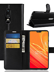 cheap -Case For OnePlus OnePlus 6 / One Plus 5 / OnePlus 5T Wallet / Card Holder / Flip Full Body Cases Solid Colored Hard PU Leather