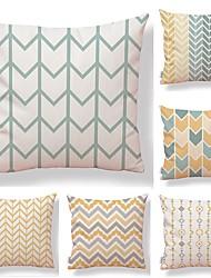 cheap -6 pcs Textile Cotton / Linen Pillow case, Art Deco Lines / Waves Printing Square Shaped Lovely