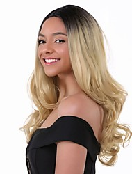 cheap -Remy Human Hair Lace Front Wig Layered Haircut Beyonce style Brazilian Hair Wavy Blonde Wig 130% Density with Baby Hair Ombre Hair Dark Roots Women's Short Medium Length Long Human Hair Lace Wig Aili
