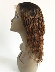 cheap -Virgin Human Hair Lace Front Wig Layered Haircut Rihanna style Brazilian Hair Wavy Auburn Wig 130% Density with Baby Hair Ombre Hair Dark Roots Women's Short Medium Length Long Human Hair Lace Wig