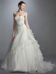 cheap -Ball Gown Wedding Dresses Sweetheart Neckline Court Train Lace Organza Strapless with Sash / Ribbon Beading Appliques 2020