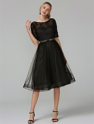 cheap -A-Line Illusion Neck Knee Length Tulle / Lace Bodice Little Black Dress Cocktail Party / Homecoming / Prom Dress 2020 with Bow(s) / Lace