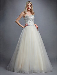 cheap -Ball Gown Elegant & Luxurious Open Back Pastel Colors Formal Evening Dress Strapless Sleeveless Floor Length Tulle with Crystals Beading 2020