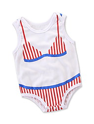 cheap -Baby Girls' Active / Basic Daily / Holiday Striped / Print Printing Sleeveless Romper White / Toddler