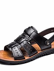 cheap -Men's Comfort Shoes Cowhide Summer Sandals Black / Brown / Outdoor