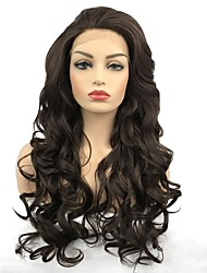 cheap -Synthetic Lace Front Wig Curly Middle Part Lace Front Wig Long Chestnut Brown Synthetic Hair Women's African Braids Brown StrongBeauty