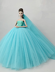 cheap -Doll accessories Doll Clothes Doll Dress Wedding Dress Party / Evening Dresses Wedding Ball Gown Tulle Lace Cotton Blend Silk / Cotton Blend For 11.5 Inch Doll Handmade Toy for Girl's Birthday Gifts