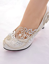 cheap -Women's Wedding Shoes Stiletto Heel Round Toe Rhinestone / Sparkling Glitter Lace Slingback / Basic Pump Spring & Summer White