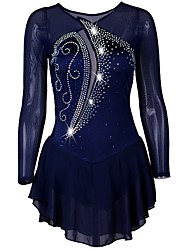 cheap -Figure Skating Dress Women's Ice Skating Dress Dark Navy Stretch Yarn Stretchy Professional Competition Skating Wear Quick Dry Anatomic Design Handmade Classic Long Sleeve Performance Ice Skating