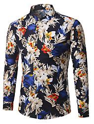 cheap -Men's Holiday Work Business Plus Size Cotton Shirt - Floral Blue / Long Sleeve