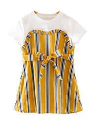 cheap -Toddler Girls' Basic Daily Striped Short Sleeve Dress Yellow