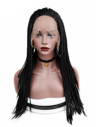 cheap -Synthetic Lace Front Wig Straight Middle Part Lace Front Wig Medium Length Long Natural Black Synthetic Hair Women's New Arrival Hot Sale Faux Locs Wig Black