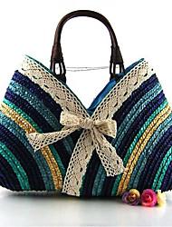 Недорогие -Жен. Бант(ы) Солома Сумка-шоппер Соломенная сумка Оранжевый / Пурпурный / Коричневый
