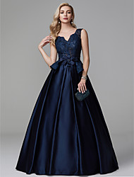 cheap -Ball Gown V Neck Floor Length Lace / Satin Peplum / Blue Formal Evening / Quinceanera Dress with Beading / Bow(s) 2020