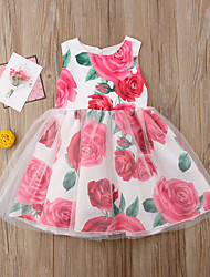 cheap -Toddler Girls' Vintage Boho Holiday Going out Floral Patchwork Ruched Pleated Mesh Sleeveless Knee-length Dress Red / Print