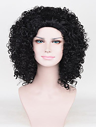 cheap -Human Hair Lace Wig Curly Asymmetrical Wig Long Jet Black Synthetic Hair Women's Cosplay Black