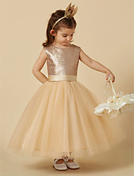 cheap -Princess Ankle Length Flower Girl Dress - Tulle / Sequined Sleeveless Jewel Neck with Bow(s) / Sash / Ribbon by LAN TING BRIDE®