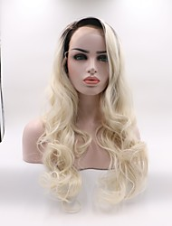 cheap -Synthetic Lace Front Wig Wavy Layered Haircut Lace Front Wig Black / Blonde Medium Length Black / White Synthetic Hair Women's Curler & straightener Black / Blonde Skyworth