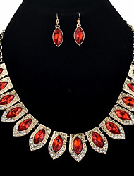 cheap -Sapphire Jewelry Set Drop Earrings Choker Necklace Marquise Cut Statement Ladies Vintage Bohemian Boho Oversized Earrings Jewelry Red / Blue / Champagne For Wedding Evening Party Masquerade