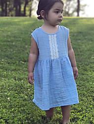 cheap -Baby Girls' Basic Daily Solid Colored Sleeveless Regular Regular Dress Blue / Toddler