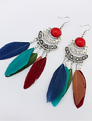 cheap -Cubic Zirconia Drop Earrings Feather Ladies Vintage Ethnic Fashion Oversized Native American Feather Earrings Jewelry Green / Blue / Black / White For Daily Carnival
