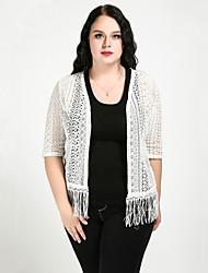 cheap -Women's Daily / Holiday Basic / Boho Lace / Tassel Solid Colored Half Sleeve Plus Size Regular Cardigan, V Neck Summer White XXXXL / XXXXXL / XXXXXXL