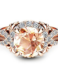 cheap -Women's Engagement Ring Citrine Synthetic Diamond Champagne Cubic Zirconia Rose Gold Plated 18K Rose Gold Plated Circle Geometric Ladies Classic Holiday Wedding Party Jewelry Solitaire Round Cut Halo