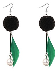 cheap -Cubic Zirconia Drop Earrings Feather Ladies Ethnic Fashion Pearl Imitation Pearl Feather Earrings Jewelry White / Ash / Green For Carnival Valentine