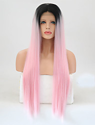 cheap -Synthetic Lace Front Wig Straight Layered Haircut Lace Front Wig Pink Long Black / Pink Synthetic Hair Women's Heat Resistant Pink