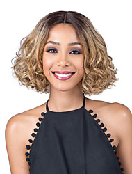 cheap -Human Hair Lace Wig Curly Bob Middle Part Wig Short Strawberry Blonde / Light Blonde Synthetic Hair Women's Fashionable Design Party Light Brown