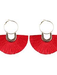 cheap -Hoop Earrings Raffia Earrings Tassel Ladies Tassel Bohemian Boho Colorful Earrings Jewelry Pink / Dark Red / Light Green For Party Daily Office & Career