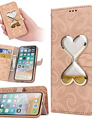 cheap -Case For Apple iPhone XS / iPhone XR / iPhone XS Max Flowing Liquid Full Body Cases Heart Hard PU Leather
